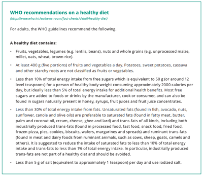 WHO diet recommendations to prevent dementia